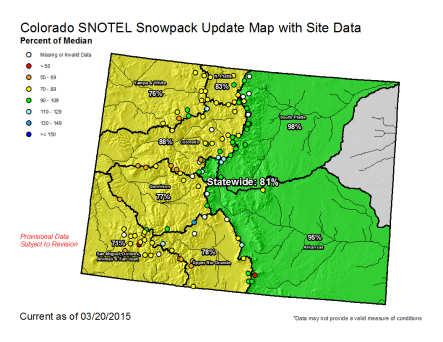 Statewide snowpack map March 20, 2015 via the NRCS