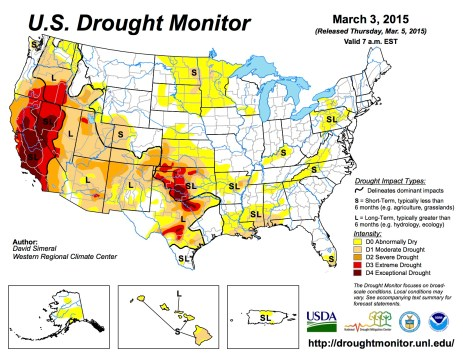 US Drought Monitor March 3, 2015