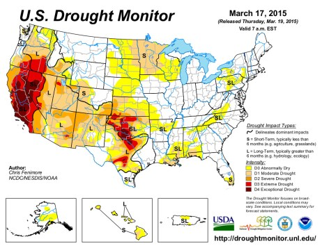 US Drought Monitor March 17, 2015