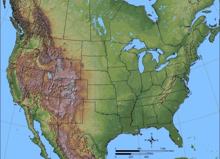 Shaded relief map of the US via Learner.org