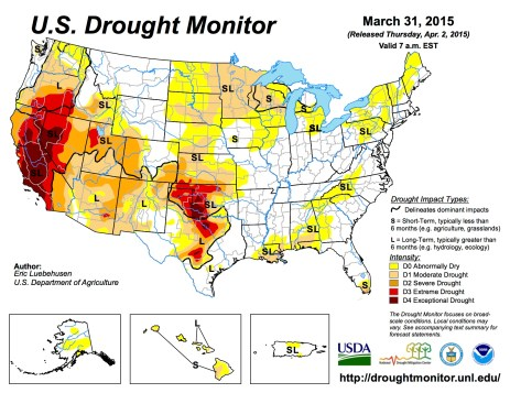 US Drought Monitor March 31, 2015