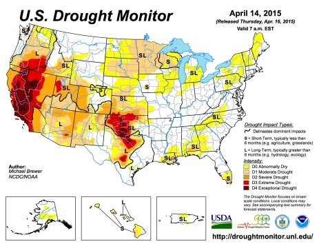 US Drought Monitor April 15, 2015