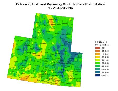 Upper Colorado River Basin month to date precipitation April 1 thru April 26, 2015 via the Colorado Climate Center