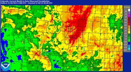 Colorado month to date May 2015 month to date precipitation thru May 18, via NOAA