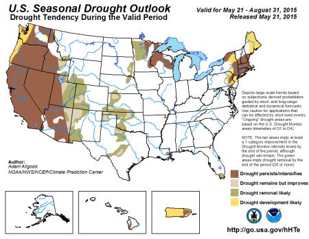 Seasonal Drought Outlook May 21 thru August 31, 2015