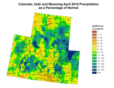 Upper Colorado River Basin April 2015 precipitation as a percent of normal