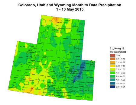 Upper Colorado River Basin month to date precipitation May 1 thru May 10, 2015