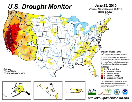 US Drought Monitor June 23, 2015