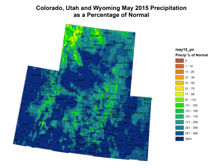 """""""Miracle May"""" -- Upper Colorado River Basin May 2015 precipitation as a percent of normal"""