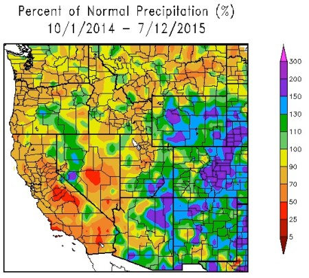 Federal Water Year Precipitation as a percent of normal October 1, 2015 thru July 12, 2015