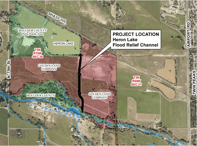Heron Lake flood relief channel project vicinity map via Times-Call and the City of Longmont