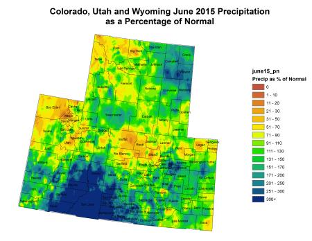 Upper Colorado River Basin precipitation as a percent of normal June 2015 via the Colorado Climate Center