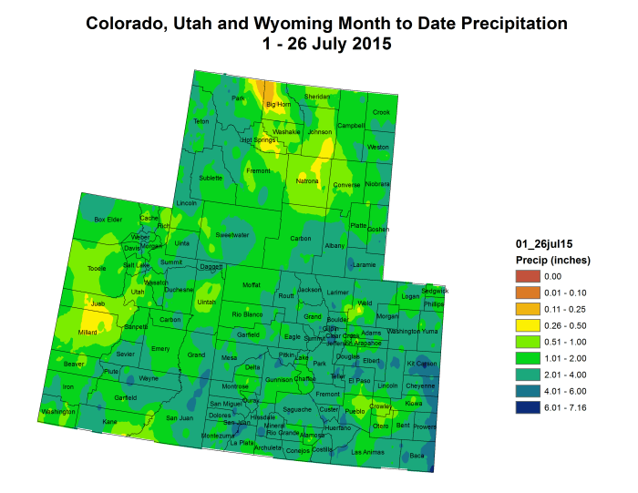 Upper Colorado River Basin  month to date precipitation July 1 through July 26, 2015