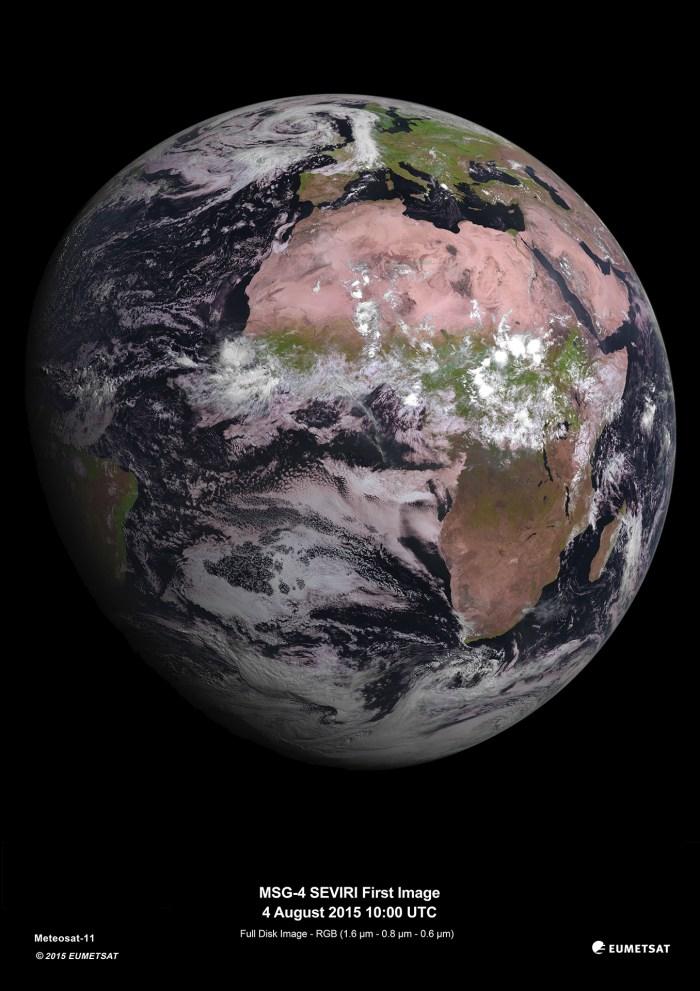 European Space Agency fourth Meteosat Second Generation (MSG-4) photo taken August 4, 2015