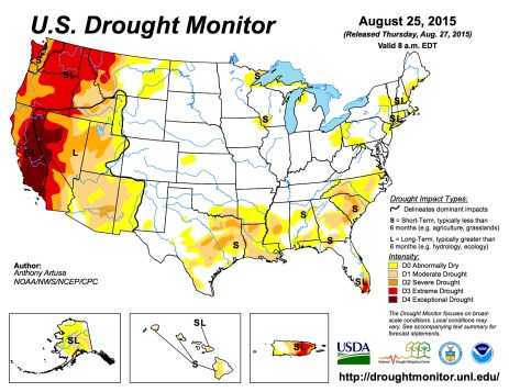US Drought Monitor August 25, 2015
