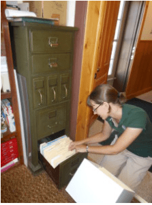 Head archivist of the CSU Libraries Water Resources Archive Patty Rettig at work.