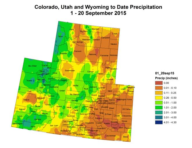 Upper Colorado River Basin September month to date precipitation through September 20, 2015