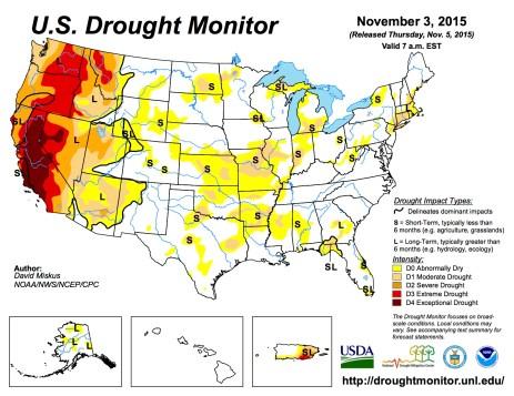 US Drought Monitor November 3, 2015