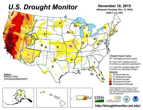 US Drought Monitor November 10 2015