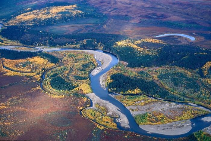 Aerial view of Beaver Creek, Alaska. Credit: Mark Dornblaser, USGS.