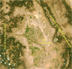 The Upper Rio Grande/Rio Arriba Watershed (highlighting location of center-pivot sprinkler circles) Note: Green dots are center-pivot farm and ranch operations, most with junior groundwater withdrawal rights and subject to court-ordered mandates designed to mitigate damages to farmers with senior surface rights (including acequias) and to augment deliveries to the Rio Grande Interstate Compact. Source: NASA/MODIS files at: http://www.oneonta.edu/faculty/baumanpr/geosat2/Dry_Land_Water/Dry_Land_Water.htm