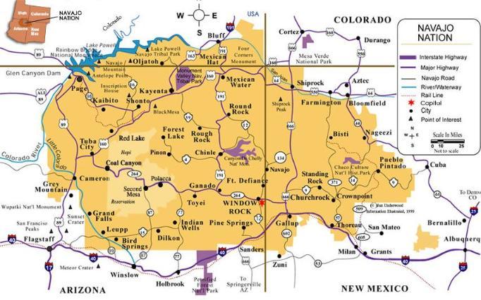 Navajo Reservation map via NavajoApparel.com