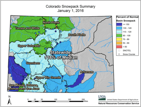 Statewide snowpack by basin January 1, 2016 via the NRCS