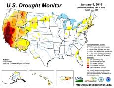 US Drought Monitor January 5, 2016