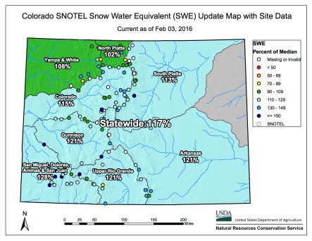 Statewide snowpack map February 3, 2016 via the NRCS.