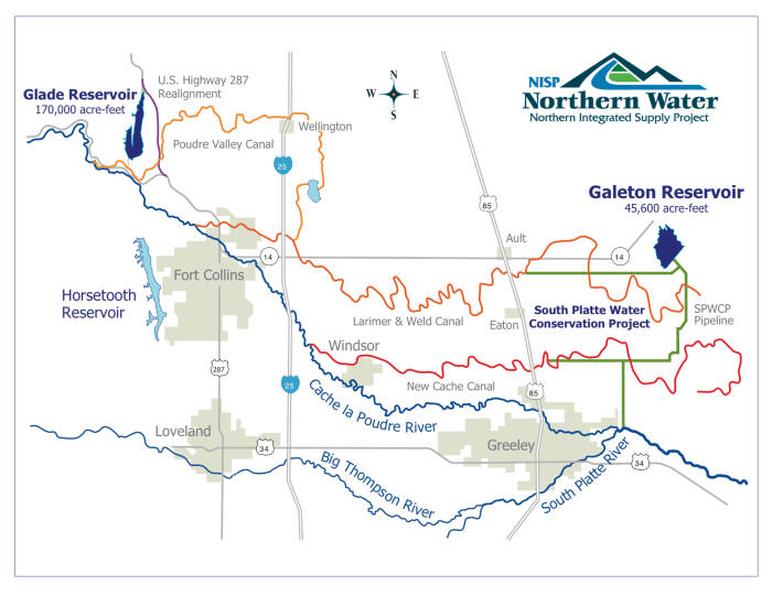 Northern Integrated Supply Project (NISP) map July 27, 2016 via Northern Water.