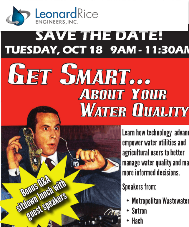 Save the Date - LRE WQ:Technology Seminar Oct 18th - Leonard Rice Engineers, Inc.