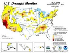 US Drought Monitor July 5, 2016.
