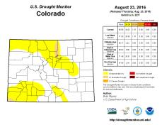 Colorado Drought Monitor Auguste 23, 2016.