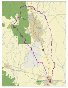 The Fountain Creek Watershed is located along the central front range of Colorado. It is a 927-square mile watershed that drains south into the Arkansas River at Pueblo. The watershed is bordered by the Palmer Divide to the north, Pikes Peak to the west, and a minor divide 20 miles east of Colorado Springs. Map via the Fountain Creek Watershed Flood Control and Greenway District.