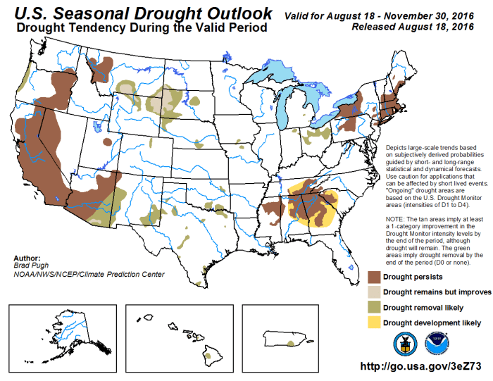 US Seasonal Drought Outlook August 18 through November 30, 2016 via the Climate Predication Center.