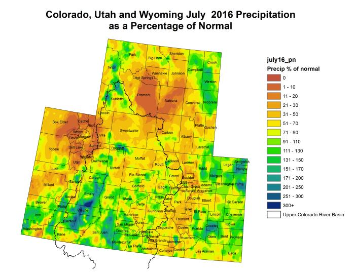 Upper Colorado River Basin July 2016 precipitation as a percent of normal via the Colorado Climate Center.