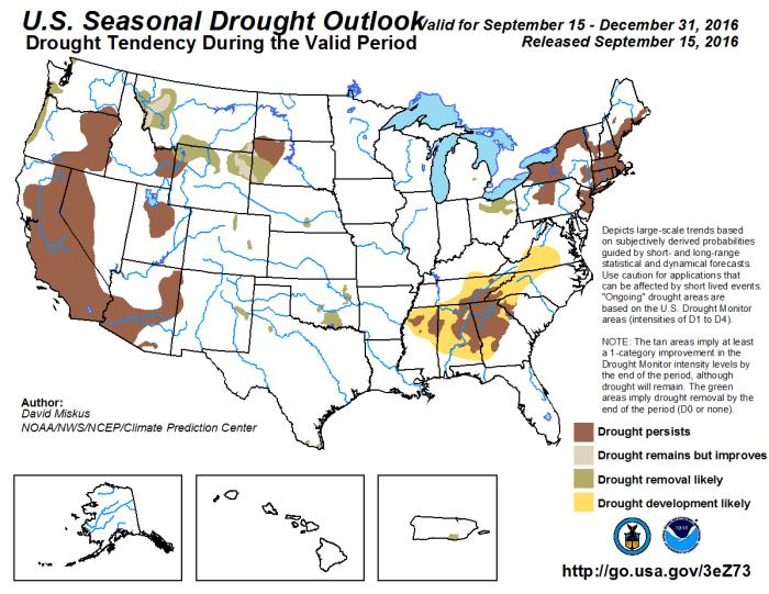 Drought outlook through December 31, 2016 via the Climate Prediction Center.