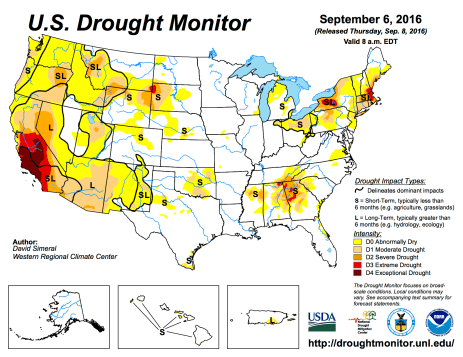 US Drought Monitor August 6, 2016.