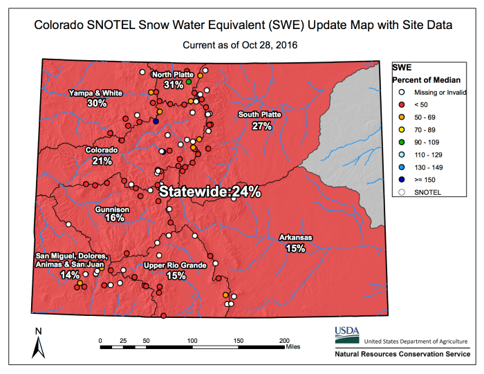 Colorado statewide snowpack map October 28, 2016 via the NRCS.