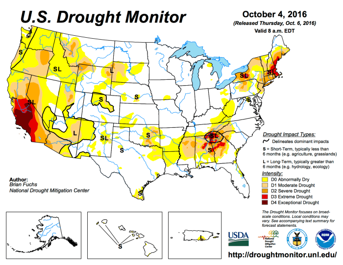 US Drought Monitor October 4, 2016.