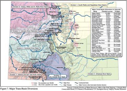 This graphic shows the transmountain diversions in Colorado.