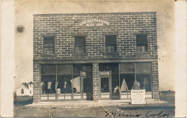 Ashcraft & Brown Building, Merino, Colorado, as it appeared on a 1909 postcard. Image courtesy of Ken Wilson.