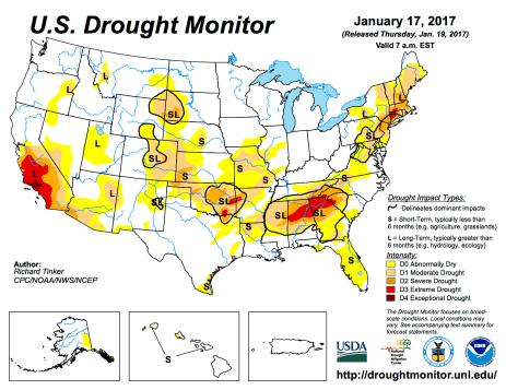 US Drought Monitor January 17, 2017.