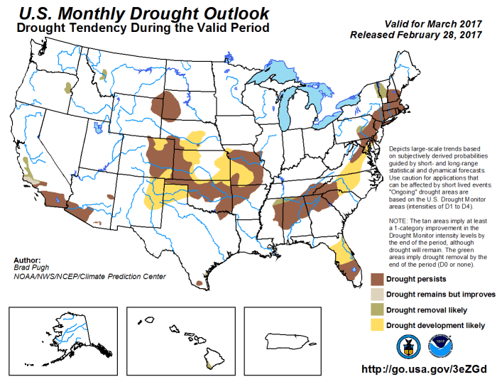 Drought forecast March 2017 via the Climate Prediction Center.
