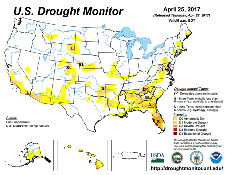 US Drought Monitor April 25, 2017.