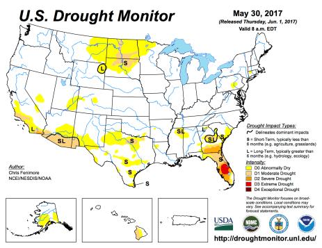 US Drought Monitor May 30, 2017.