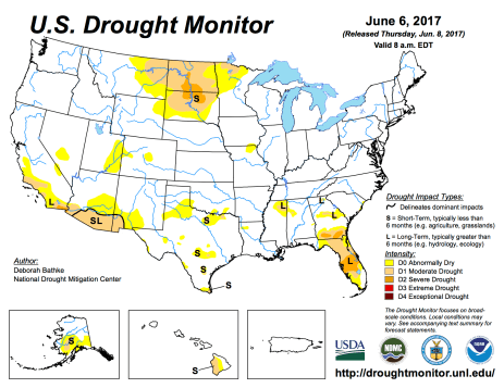 US Drought Monitor June 6, 2017.