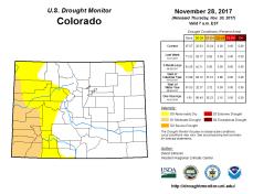 Colorado Drought Monitor November 28, 2017.