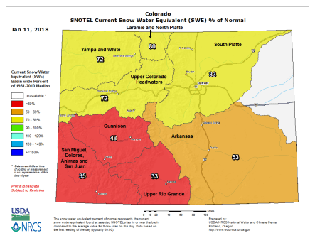 Statewide basin-filled snowpack map via the NRCS.