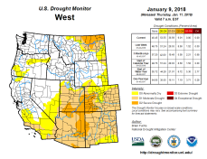 West Drought Monitor January 9, 2018.